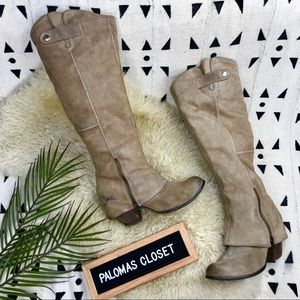 Grey distressed Fergie ridding boots. Sz 8.5